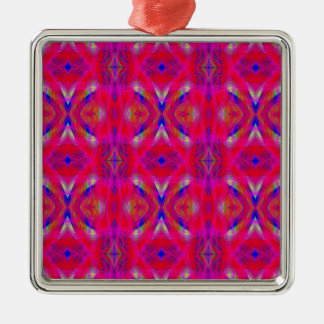 Vibrant Neon Hot Pink Chic Pattern Metal Ornament