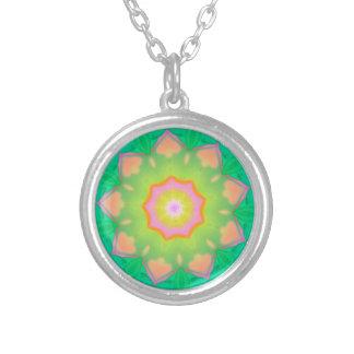 Vibrant Neon Pastel Mandela Pattern Round Pendant Necklace