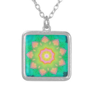 Vibrant Neon Pastel Mandela Pattern Square Pendant Necklace