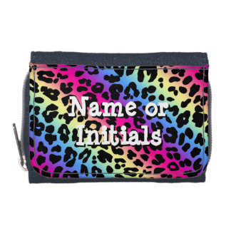 Vibrant Neon Rainbow Leopard Wallets