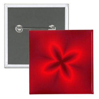 Vibrant Neon Red Flower 15 Cm Square Badge