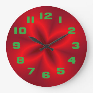 Vibrant Neon Red Flower Large Clock