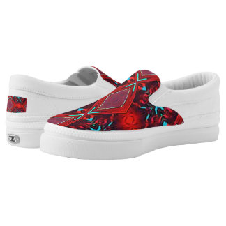 Vibrant Neon Red With Turquoise Funky Pattern Printed Shoes