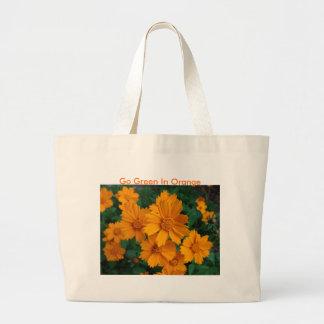 Vibrant Orange Blooms, Go Green In Orange Tote Bag