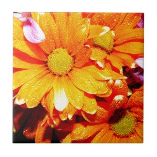 Vibrant Orange Fiore Ceramic Tile