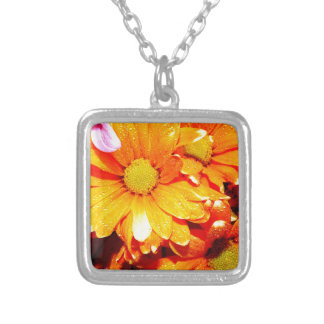 Vibrant Orange Fiore Silver Plated Necklace