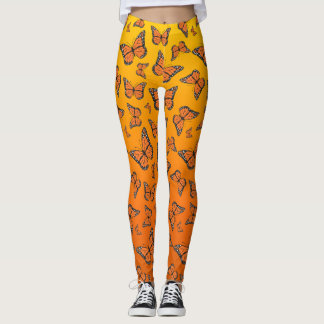 Vibrant Orange Ombre Monarch Butterfly Leggings