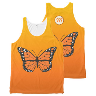 Vibrant Orange Ombre Monarch Butterfly Monogram All-Over Print Singlet