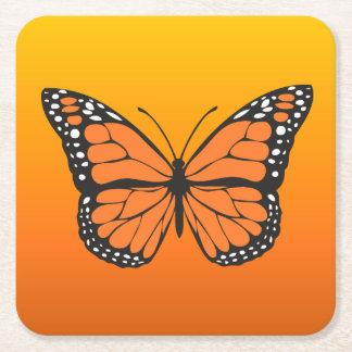 Vibrant Orange Ombre Monarch Butterfly Square Paper Coaster