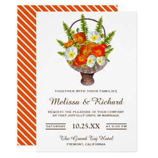 Vibrant Orange Poppies Floral Basket Wedding Card