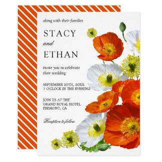 Vibrant Orange Poppies Floral Bouquet Wedding Card