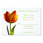 Vibrant Orange Tulip Wedding Reply Card Personalised Announcement