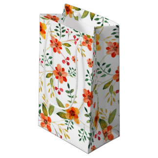 Vibrant Orange, Yellow, and Red Floral Pattern Small Gift Bag