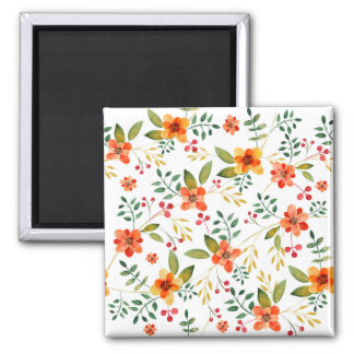 Vibrant Orange, Yellow, and Red Floral Pattern Square Magnet