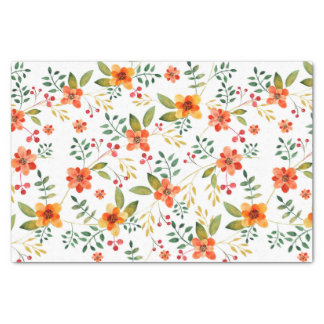 Vibrant Orange, Yellow, and Red Floral Pattern Tissue Paper