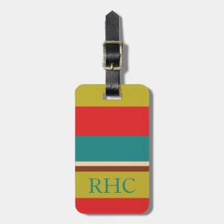 Vibrant Palette Stripe Monogram Luggage Tag