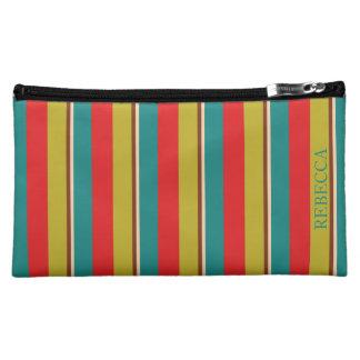 Vibrant Palette Stripe Personalized Makeup Bag