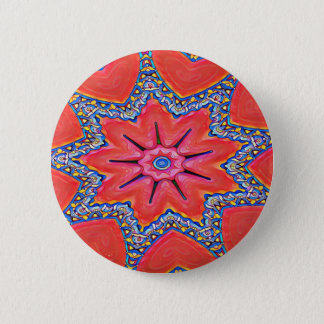 Vibrant Peach Rose Colored Kaleidoscope Pattern 6 Cm Round Badge