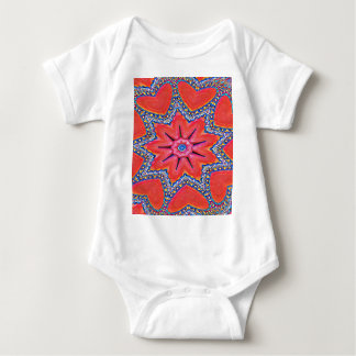 Vibrant Peach Rose Colored Kaleidoscope Pattern Baby Bodysuit