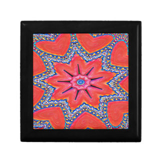 Vibrant Peach Rose Colored Kaleidoscope Pattern Gift Box