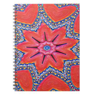 Vibrant Peach Rose Colored Kaleidoscope Pattern Notebooks