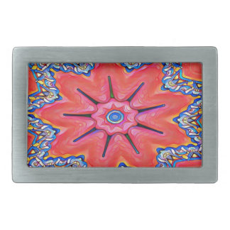 Vibrant Peach Rose Colored Kaleidoscope Pattern Rectangular Belt Buckles