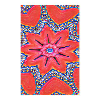 Vibrant Peach Rose Colored Kaleidoscope Pattern Stationery