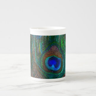Vibrant Peacock Feathers Etching Style Decor Tea Cup
