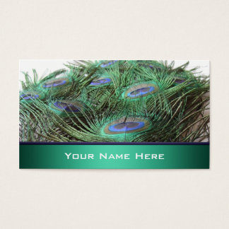 Vibrant Peacock Feathers Photo Business Card