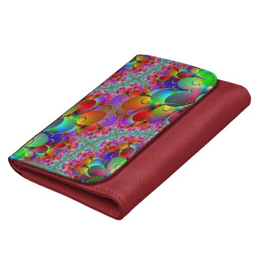 Vibrant Peacock Tail Leather Wallet