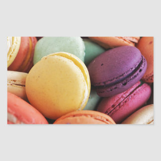 Vibrant Pile French Macaron Cookies Rectangular Sticker