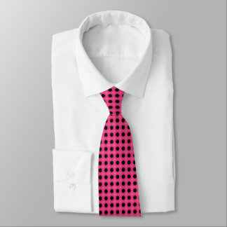 Vibrant pink and black polka dot pattern tie