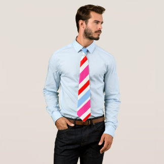 Vibrant pink and blue stripe pattern tie
