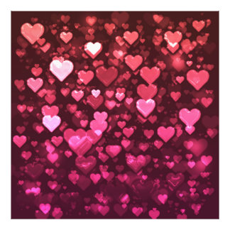 Vibrant Pink and Red Bokeh Hearts of Love Photograph