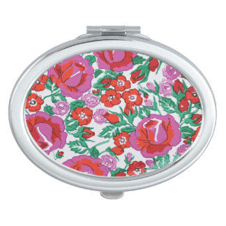 Vibrant Pink and Red Sketched Roses Mirrors For Makeup