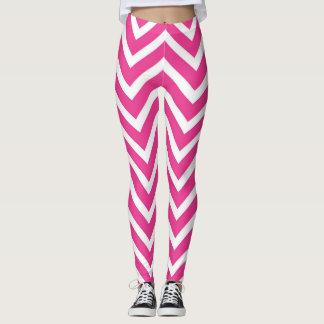 Vibrant Pink Chevron Pattern Leggings