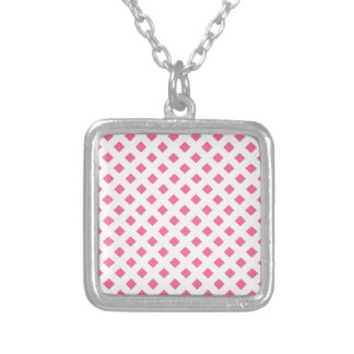 Vibrant Pink Diamond Pattern Square Pendant Necklace
