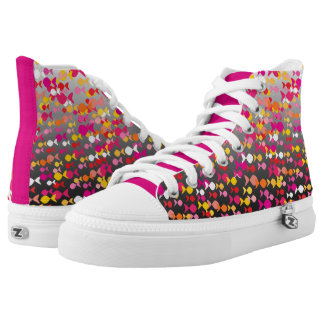 Vibrant Pink Fish Pattern Cheerful Dramatic Bold High Tops