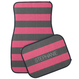 Vibrant Pink & Gray Rugby Stripes with Custom Name Car Mat