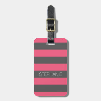 Vibrant Pink & Gray Rugby Stripes with Custom Name Luggage Tag