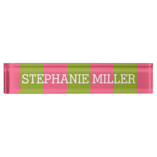 Vibrant Pink & Lime Rugby Stripes with Custom Name Name Plates