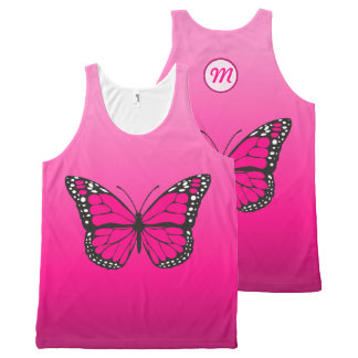 Vibrant Pink Ombre Butterfly Monogram All-Over Print Singlet