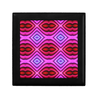 Vibrant Pink Red Flourescent Lips Shaped Pattern Gift Box