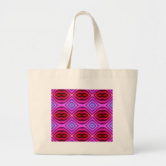 Vibrant Pink Red Flourescent Lips Shaped Pattern Large Tote Bag