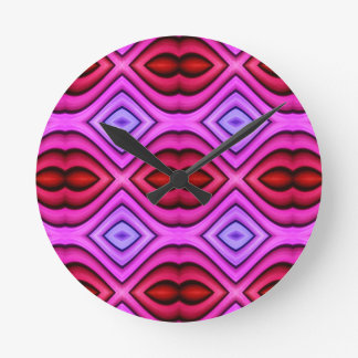 Vibrant Pink Red Flourescent Lips Shaped Pattern Round Clock