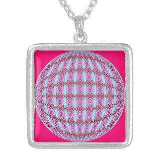 Vibrant Pink/Soft Turquoise Pattern Globe Design Square Pendant Necklace