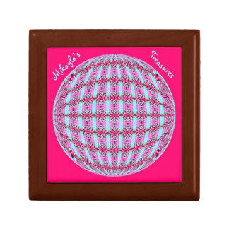 Vibrant Pink/Soft Turquoise X Pattern Globe Design Gift Box