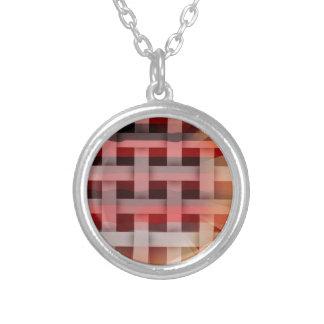 Vibrant Plaid Round Pendant Necklace
