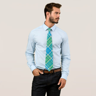 Vibrant plaid pattern tie