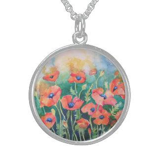 Vibrant Poppies Round Pendant Necklace